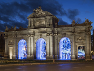Side view of the Alcala Gate at Christmas