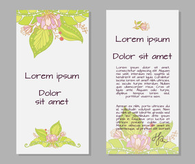 Vector template poster with floral abstract background