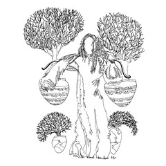 Woman carrying pots with trees on her shoulders. World of Woman graphical art series. Vector Illustration