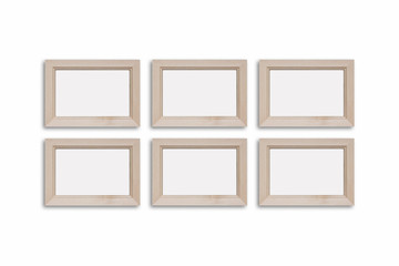 Collage of six blank wooden photo frames