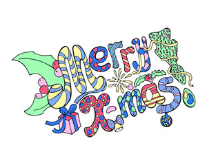 Merry X-mas lettering with doodle ornament vector illustration on white.