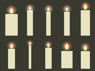 Christmas candles in a flat design. Vector illustration.