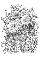 doodle flowers on a white
