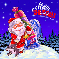 Merry Christmas and a Happy New Year. Congratulation. Winter landscape. Santa with a rabbit out of a cannon, shoot candy cracker. Cartoon. Purple background. Poster.