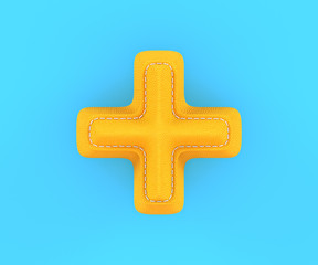 Leather yellow texture letter digit plus sum sing mark