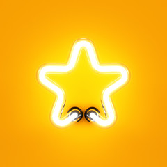 Neon light alphabet character star font