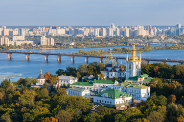 Foto auf Leinwand Kiew View of Kiev Pechersk Lavra and Dnepr river. Kiev, Ukraine.