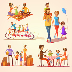 Family Retro Cartoon Set