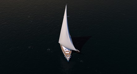 Sailboat At Sunrise or Sunset With Female In Bikini 3D Rendering