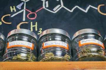Medical marijuana jars - cannabis dispensary concept
