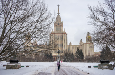 Moscow State University named after Lomonosov winter snowfall