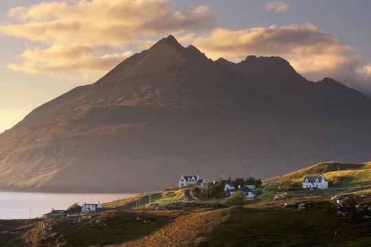 Croftship of Elgol, Loch Scavaig and Black Cuillins with Gars bleinn, 895 m behind, Isle of Skye, Inner Hebrides, Scotland