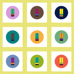Collection of stylish vector icons in colorful circles cupboard