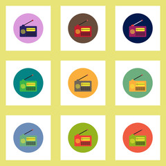 Collection of stylish vector icons in colorful circles retro radio