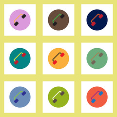 Collection of stylish vector icons in colorful circles retro handset
