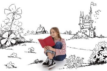 fillette 12 ans lisant un livre dans un décor de dessin imaginaire