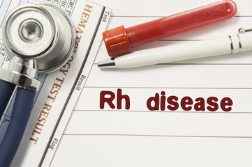 Diagnosis of Rh Disease. Test tubes or bottles for blood, stethoscope and laboratory hematology analysis surrounded by text title of diagnosis of Rh Disease lie in the doctor workplace