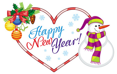 "Heart-shaped holiday label with snowman and greeting text: ""Happy New Year!""."