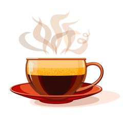 Glass cup with hot coffee