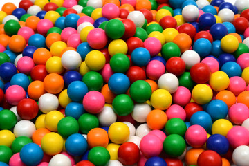 Colorful gumballs on the white background