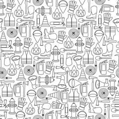 Pattern seamless of line firefighting equipment vector illustration