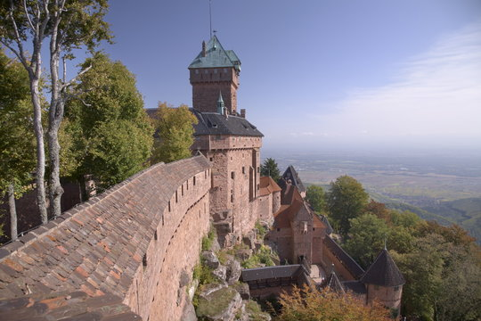 Haut-Koenigsbourg Castle, view of the exterior wall and keep overlooking the Alsace plain, from the grand bastion, Haut Rhin, Alsace, France