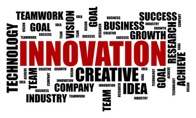 Innovation word cloud concept on white background