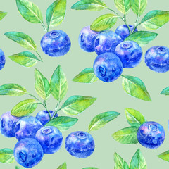 Seamless pattern of a blueberry.Forest berry.Watercolor hand drawn illustration.Green background.