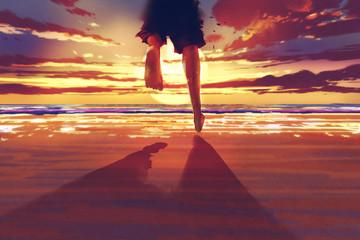 man feet running on the beach at sunrise,illustration painting