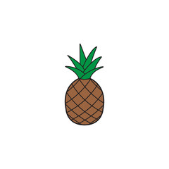 Pineapple & ananas solid line icon, healthy fruit, vector graphics, a filled pattern on a white background, eps 10