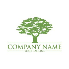 Simple And Modern Green Oak Tree Logo