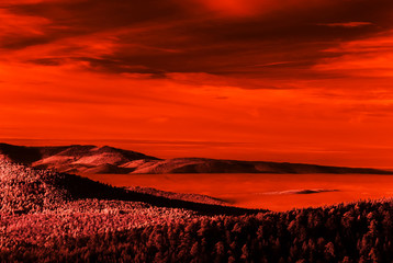 Poster de jardin Rouge Fantastic aerial infrared view of mountain landscape with sea of