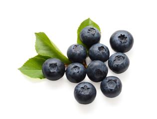 fresh blueberries isolated on white background