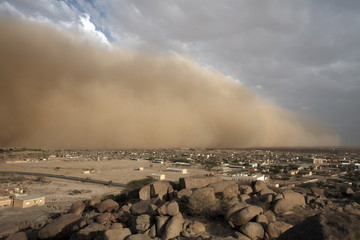 A sandstorm approaches the town of Teseney, near the Sudanese border, Eritrea, Africa