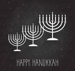 Hanukkah poster with menorah on black chalkboard. Handwritten text. Vector illustration.