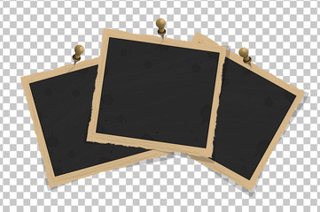 Set of square old vintage frames template on pins with shadows isolated on transparent background. Vector illustration