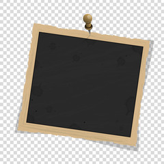 Square old vintage frame template or pin with shadows isolated on transparent background. Vector illustration