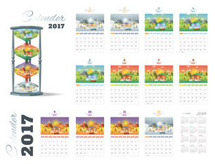 calender 2017 on landscape seasons set with Winter, Spring, Summ