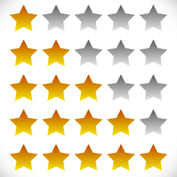 Star rating symbols with 6 star. Quality, feedback, experience,