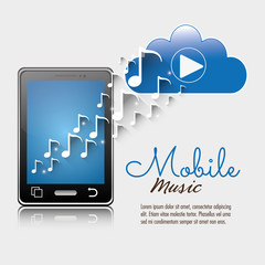 mobile music smartphone cloud player notes vector illustration eps 10
