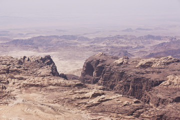 The rugged landscape at Petra, Jordan, Middle East
