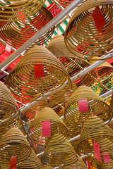 Giant spiral incense coils at the Man Mo Chinese Temple, Central District, Hong Kong Island, Hong Kong, China, Asia