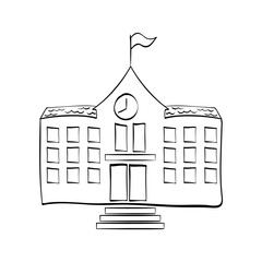 School building draw icon vector illustration graphic design