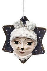 Festive decoration in the shape of a leveret mask, isolated on w