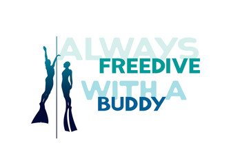 Two freedivers and rope. Always freedive with a buddy.