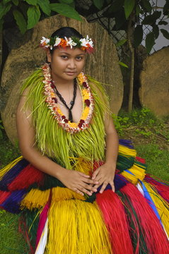 Yapese woman in traditional dance costume, Yap, Micronesia