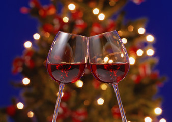 Christmas tree and a glass of wine