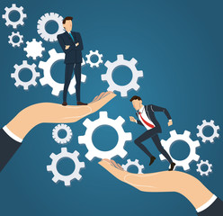 big hand holding businessman and gears background ,  business concept