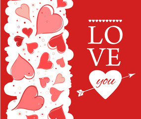Love you lettering Greeting Card on red back. Vector illustration