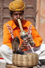 Cobra snake charmer outside the City Palace, Jaipur, Rajasthan, India, Asia